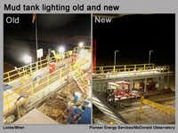 Before and after pictures of Pioneer Energy Services equipment outfitted with dark-skies compliant lighting.(Pioneer Energy Services, McDonald Observatory)
