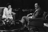 "Wygant with Bob Hope in 1974. <br>(From the book, ""<i>Talking to the Stars: Bobbie Wygant's 70 Years in Television</i>""<br>)"
