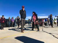 Beto O'Rourke thanks protesters for bearing witness in Tornillo and pressuring the Trump administration to change its immigration policy, in Tornillo, Texas, outside the child detention 'tent city' on Dec. 23, 2018. (Alfredo Corchado/Staff Photo)