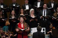 Soprano Anna Fredericka Popova sings a solo accompanied by the Dallas Bach Society during a presentation of George Frideric Handel's Messiah at the Meyerson Symphony Center in Dallas on Sunday, Dec.r 23, 2018. (Daniel Carde/Staff Photographer)
