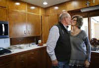 Matt Farmer kisses his wife, Dianne, after lunch at their home in Lamesa.(Rose Baca/Staff Photographer)