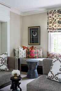 This photo provided by Marika Meyer Interiors shows a living room in Washington, D.C. Among the trends emerging for 2019 are an embrace of patterned fabrics which can be paired together, as seen in this Washington, D.C. area living room designed by interior designer Marika Meyer. (Angie Seckinger/Marika Meyer Interiors via AP)(Angie Seckinger/AP)