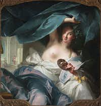 """Casanova: The Seduction of Europe"" at the Kimbell Art Museum, Jean-Marc Nattier 'Thalia, Muse of Comedy,' 1739, oil on canvas, the Fine Arts Museums of San Francisco, museum purchase, Mildred Anna Williams Collection, 1954.59(Randy Dodson/Kimbell Art Museum)"
