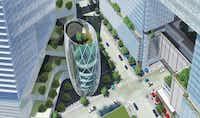 Dallas developer KDC and architect Pelli Clarke Pelli planned a 10-block campus for Amazon in downtown Dallas.(KDC)