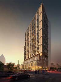 The 41-story Atelier apartments in downtown Dallas is one of the tallest buildings under construction in North Texas.(ZOM)