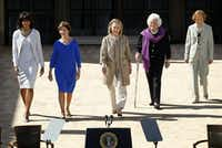 The five first ladies (from left) Michelle Obama, Laura Bush, Hillary Clinton, Barbara Bush, and Rosalynn Carter were introduced at the George W. Bush Presidential Center dedication April 25, 2013.(Tom Fox/Staff Photographer)