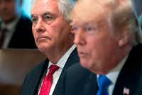 In this photo taken in December 2017, US President Donald Trump speaks alongside Secretary of State Rex Tillerson during a Cabinet Meeting in the Cabinet Room at the White House.(SAUL LOEB/AFP/Getty Images)