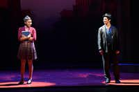 Jane (Brianna-Marie Bell) and Calogero (Joey Barreiro) eye one another as they meet for the first time in <i>A Bronx Tale</i>, presented by AT&amp;T Performing Arts Center at the Winspear Opera House. Ben Torres/Special Contributor(Ben Torres/Special Contributor)