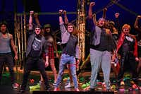Johnny, played by Griffin Shoemaker (third from left), and Tunny, played by Darnell Robinson (second from right), lead a group of dancers during a dress rehearsal for Green Day's<i> American Idiot</i>, directed by Valerie Hauss-Smith, at the Moody Performance Hall in Dallas on Dec. 30, 2018. (Ben Torres/Special Contributor)