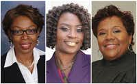 """<p>From left: Judges Chika Anyiam of CDC 7, Raquel """"Rocky"""" Jones of 203rd District Court and Lela Mays of 283rd District Court</p>"""