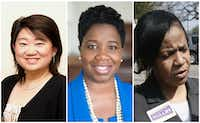 From left: Judges Tina Yoo Clinton of Criminal District Court 1, Carmen White of County Criminal Court 8 and Etta Mullin of County Criminal Court 10