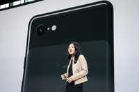 Liza Ma, product manager at Google, discusses the new Google Pixel 3 and Pixel 3 XL smartphones during a Google product release event in October in New York City.(Drew Angerer/Getty Images)