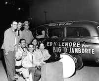 Charline Arthur (beside drum) and the Big D Jamboree crew ham it up outside the Dallas Sportatorium in this undated photo.(File/<br>)