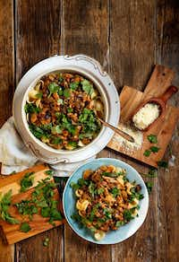 Mushroom Ragu includes medley of assorted mushrooms, shallots, tomato paste, white wine and finished with finely shredded parmesan and cream.(Tom Fox/Staff Photographer)