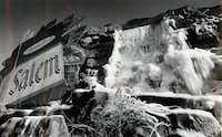 Waterfall billboard with frozen water in 1976.(File Photo/Staff)