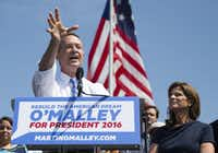 Former Maryland Gov. Martin O'Malley spoke during a Baltimore event in May 2015 to announce that he was entering the Democratic presidential race as his wife Katie listened.(Evan Vucci/The Associated Press)