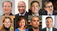 Candidates for Dallas mayor, top row from left, Mike Ablon, Albert Black Jr., Larry Casto, Scott Griggs. Bottom row from left, Lynn McBee, Regina Montoya, Miguel Solis, and Jason Villalba.