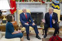 President Donald Trump and Vice President Mike Pence met with House Speaker-designate Nancy Pelosi and Senate Minority Leader Chuck Schumer (not pictured), in the Oval Office of the White House on Dec., 1. Trump, Pelosi and Schumer had a disagreement on border policy and shutting down the government.(ABACA Press)
