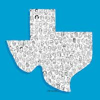 "Dallas illustrator and artist Rob Wilson created the ""Texas Heads of State"" illustration with 135 noteworthy Texans. (Illustration/Rob Wilson)"