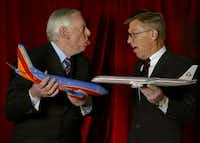 Southwest Airlines founder Herb Kelleher and former American Airlines CEO Bob Crandall.(DMN file/NATALIE CAUDILL)