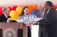 From left: Sam Coats, Angela Hunt, Herb Kellehe and Mayor Dwaine Caraway share a laugh as Kelleher is presented a road sign at the Herb Kelleher Way dedication ceremony at the Dallas Love Field Airport  in 2011. (Joel Prince/DMN files)