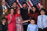 U.S. Rep. Rashida Tlaib, D-Mich, participates in a ceremonial swearing-in from Speaker of the House Nancy Pelosi at the start of the 116th Congress on Jan. 3, 2019.(Saul Loeb/Agence France-Presse)