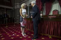 Sen. Kyrsten Sinema, D-Ariz., participates in a mock swearing in ceremony with Vice President Mike Pence on Capitol Hill on Jan. 3, 2019 in Washington, D.C.(Zach Gibson/Getty Images)