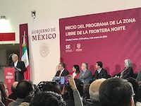 President Andres Manuel Lopez Obrador speaks in Ciudad Juarez about a plan to stimulate the economy and spur growth.(Alfredo Corchado/Staff )