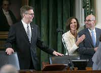 During tensions between the two chambers over a bathroom bill and property tax revenue caps late last session, House Speaker Pro Tem Dennis Bonnen sought to ease tensions with the Senate during a quick visit to the dais of the Senate's presiding officer, Lt. Gov. Dan Patrick. Brenham GOP Sen. Lois Kolkhorst shared in the laugh. (2017 File Photo by Ralph Barrera/Austin American-Statesman)