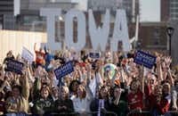 In this Oct. 31, 2008, file photo, supporters cheer as they listen to then-Democratic presidential candidate Sen. Barack Obama, D-Ill., at a rally in Des Moines, Iowa. (Jae C. Hong/The Associated Press)