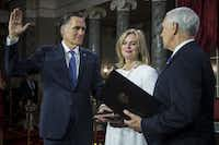 Sen. Mitt Romney, R-Utah, participates in a mock swearing-in ceremony with Vice President Mike Pence on Capitol Hill on Jan. 3, 2019 in Washington, D.C.(Zach Gibson/Getty Images)
