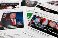 Some of the Facebook and Instagram ads linked to a Russian effort to disrupt the American political process and stir up tensions around divisive social issues, released by members of the U.S. House Intelligence committee, in Washington, D.C., on Nov. 1, 2017. (Jon Elswick/The Associated Press)