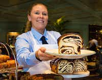 The chocolate babka is one of several irresistible treats offered from the pastry cart at Sadelle's.(Michael Hiller/Special Contributor)