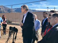 "U.S, Sen. Jeff Merkley of Oregon described President Trump's immigration policies as a ""war on migrant children."" He joined other Democrats in touring Border Patrol facilities in Alamogordo.(Alfredo Corchado/The Dallas Morning News)"