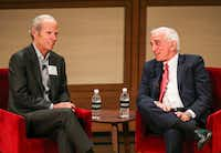 "<p><span style=""font-size: 1em; background-color: transparent;"">Jim Sud, Whole Foods Market's executive vice president of growth and business development, (left), talks with Weitzman Executive Chairman Herb Weitzman on Tuesday, Jan. 8, 2019, at the George W. Bush Presidential Center.</span></p>(Ryan Michalesko/Staff Photographer)"