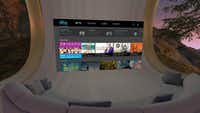 The Sling TV interface inside the Oculus Go goggles.(Sling)