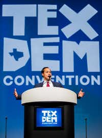 Julian Castro, former U.S. Secretary of Housing and Urban Development, speaks during the Texas Democratic Convention on June 22, 2018, at the Fort Worth Convention Center in Fort Worth.(Ashley Landis/Staff Photographer)