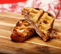 "<p><span style=""font-size: 1em; background-color: transparent;"">Waffled Raisin Challah with Buffalo Mozzarella, Prosciutto and Fig Jam, AKA Nirvana</span><br></p>(Nathan Hunsinger/Special Contributor)"
