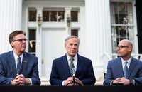 From left: Lt. Gov. Dan Patrick, Gov. Greg Abbott and Speaker Dennis Bonnen talked about being aligned on priorities for the legislative session at their first joint press conference at the Governor's Mansion in Austin on Wednesday. (Ashley Landis/Staff Photographer)