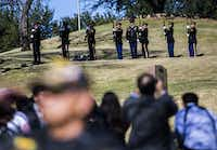 A 21-gun salute pays tribute to Richard Overton during a graveside service the Texas State Cemetery.(Ashley Landis/Staff Photographer)