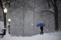 A pedestrian walks through New York City's snow-covered Central Park.(Astrid Riecken/The Washington Post)
