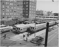 Electric trains line up outside downtown Dallas' Interurban Building in the 1940s. (DMN files)
