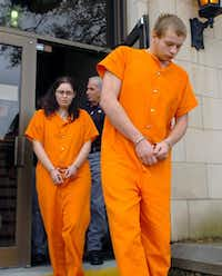 Jesseca Carson and Blaine Milam were led from the Rusk County courthouse in Henderson in 2008. She was 18 and he was 19 at the time.(File Photo/The Associated Press)
