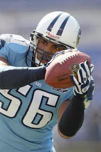 Colin Allred played for the Tennessee Titans before his political career.(File 2008/Getty Images)