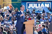 Former United States Secretary of Housing and Urban Development Julian Castro announced his candidacy for president in his hometown of San Antonio on Jan. 12, 2019.(Suzanne Cordeiro/AFP/Getty Images)