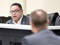 Dallas City Council member Omar Narvaez (left) addressed Assistant City Manager Jon Fortune during a council committee meeting Monday about the city's juvenile curfew ordinance.(Tom Fox/Staff Photographer)