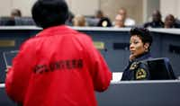"""<p><span style=""""font-size: 1em; background-color: transparent;"""">Dallas Police Chief U. Renee Hall (right) listened to the concerns of Camp Wisdom NOW founder Edna Pemberton during a City Hall discussion Monday about Dallas' juvenile curfew ordinance.</span></p>(Tom Fox/Staff Photographer)"""