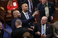 Rep. Colin Allred (D-TX) registers as present with help from U.S. Rep. Hakeem Jeffries (D-NY) during the first session of the 116th Congress at the U.S. Capitol on January 03, 2019. (Photo by Chip Somodevilla/Getty Images)(Chip Somodevilla/Getty Images)