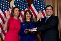 House Speaker Nancy Pelosi of Calif., administers the House oath of office to Rep. Vicente Gonzalez, D-Texas., during a ceremonial swearing-in on Capitol Hill in Washington, D.C., on Thursday, Jan. 3, 2019, during the opening session of the 116th Congress. (Jose Luis Magana/AP)