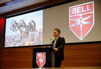 Scott Drennan, vice president of Innovation, talks about Bell Nexus, the air taxi that Bell is developing at the company's Fort Worth headquarters.(Vernon Bryant/Staff Photographer)